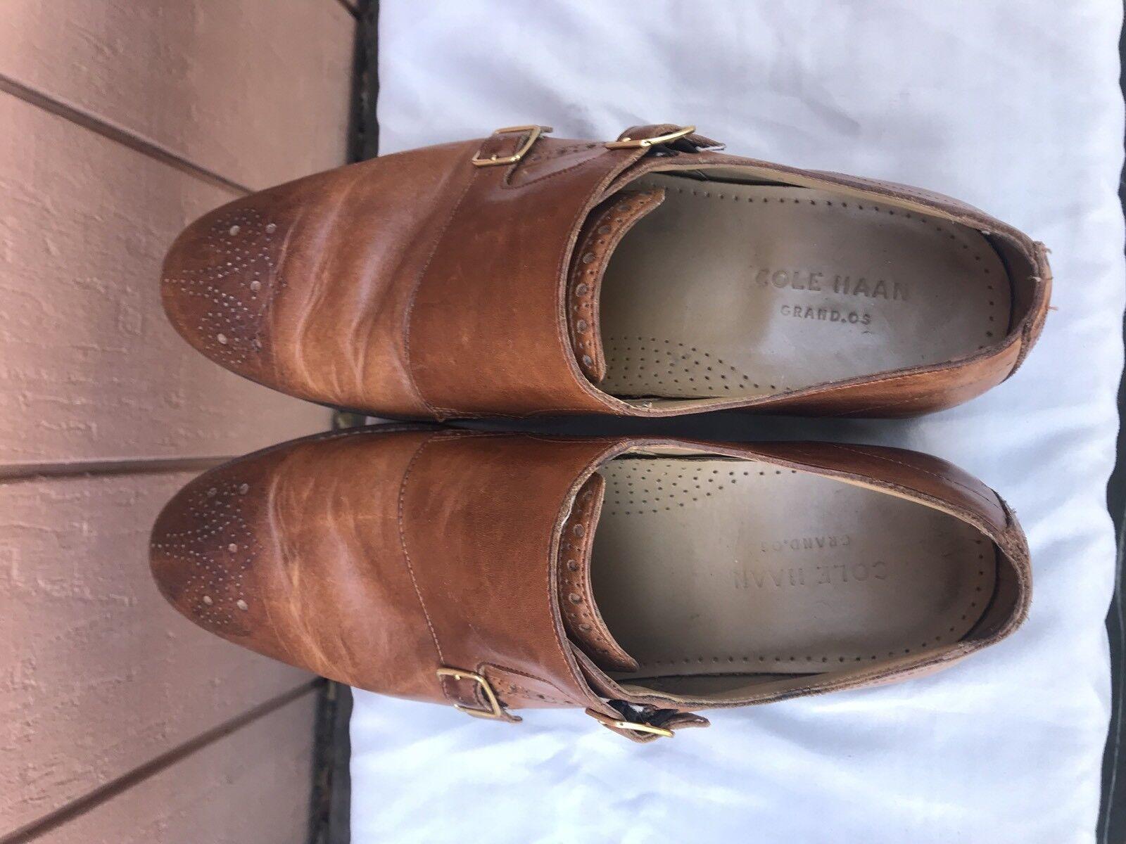 Cole Haan Cambridge Double Monk uomo Brown Leather Oaxford Loafer Shoes US 10M A1 Scarpe classiche da uomo
