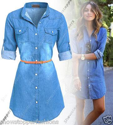 half off c5eec aa41e NUOVO Donna Lungo Camicia di jeans abito vestiti taglia 8 10 12 14 BLU |  eBay