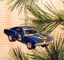 1969 DODGE CHARGER R/T Race Car CHRISTMAS ORNAMENT Metal-Flake Blue XMAS