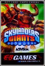 EB GAMES GAMESTOP ACTIVISION SKYLANDERS GIANTS GAME RARE COLLECTIBLE GIFT CARD
