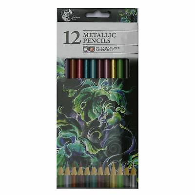 12x Metallic Pencils Intense Colour Stunning Effects Artwork Chiltern Arts Draw