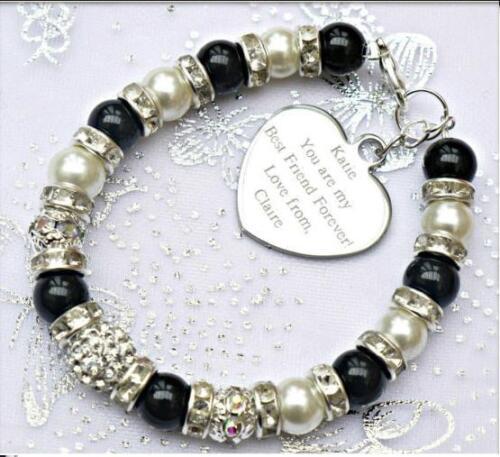 Personalised Engraved Mother Sister Niece Daughter Charm Bracelet Free Card Bag