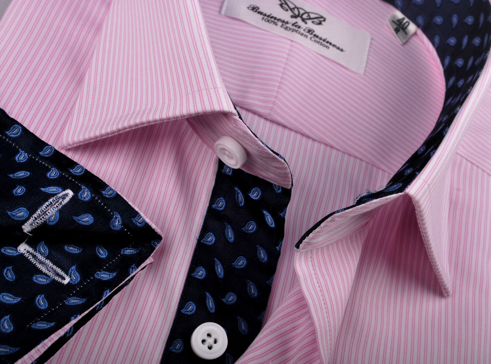 Pink Holy Stripe Mens Clothing Formal Business Dress Shirt bluee Navy Boss Flame