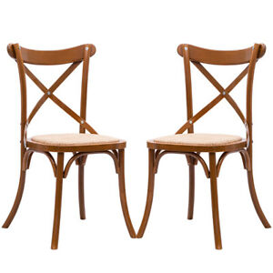 Image Is Loading Set Of 2 Cross Back Dining Side Chair