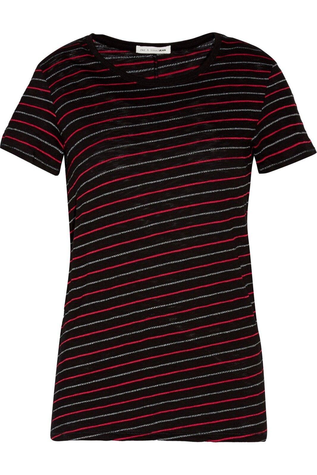 Rag & Bone Woherren schwarz rot Jasper Striped Cotton-blend T-shirt Größe M