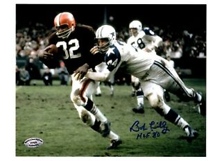 Bob-Lilly-Signed-Autograph-8x10-Photo-Tackling-Jim-Brown-W-HOF-80-SCH-Auth