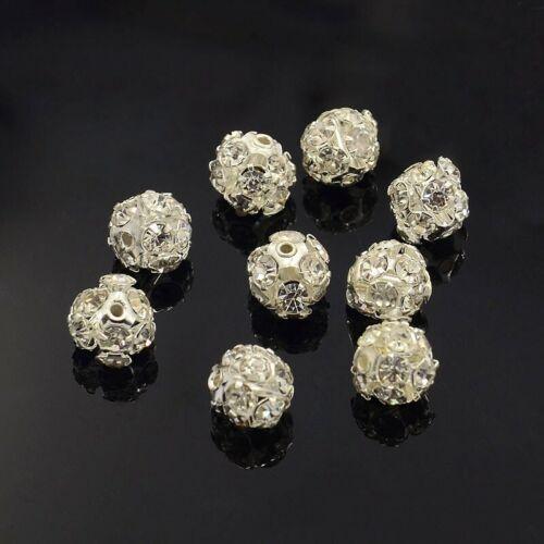 10 Stück Strassperlen 8mm Messing Metall Strass Silber Kristall Klasse A 1142