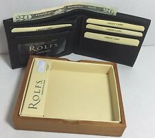 BRAND NEW ROLFS MEN BLACK BIFOLD WALLET SOFT SUPERIOR LEATHER