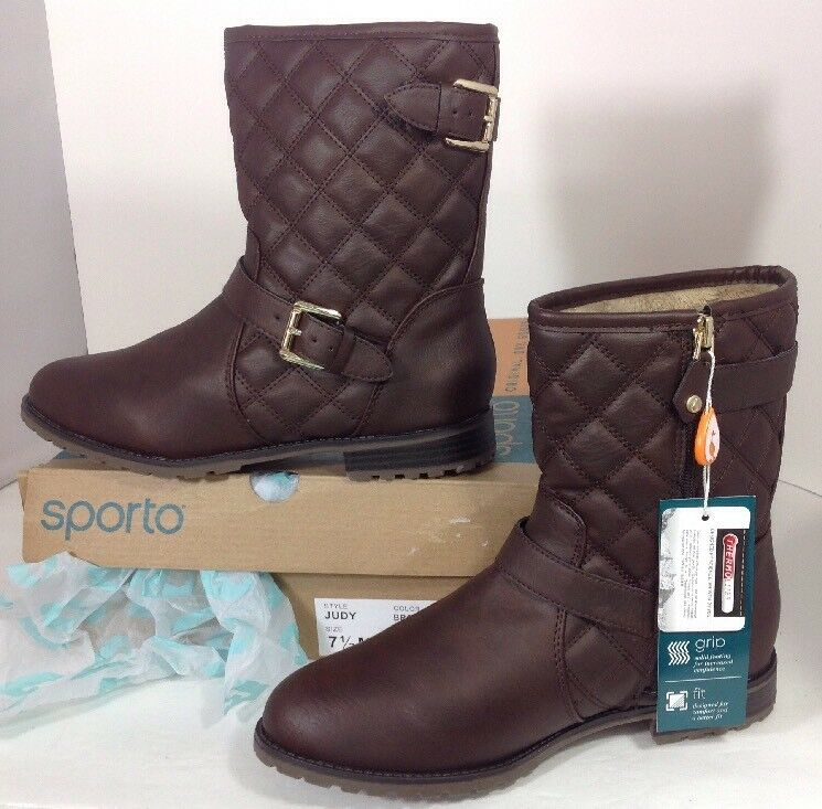 NEW SPORTO Faux Brown Leather Boots Size 7 1 2 Thermo Fur Lined Hike Tread shoes
