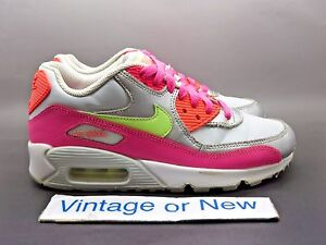 Details about Girls Nike Air Max '90 LTR Pure Platinum Silver Hot Pink GS Running 2015 sz 4Y