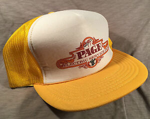 Details about Vintage Page Electric Service inc Mesh Snapback Trucker Hat  1970s 80s Collection 5e44200938b