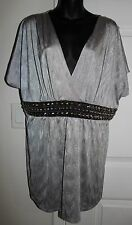 Fashion Bug 2x Silver Gray Faux Wrap Blouse Front Silver Spiked Studs