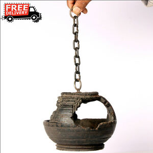 1870'S ANTIQUE ENGRAVED HANDCRAFTED WOODEN IRON WALL HANGING OIL DIYA LAMP 8683