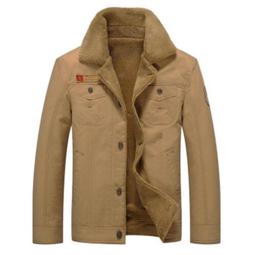 Men/'s Fleece Lined Winter Warm Coat Trucker Jacket Fur Collar Jacket 6N