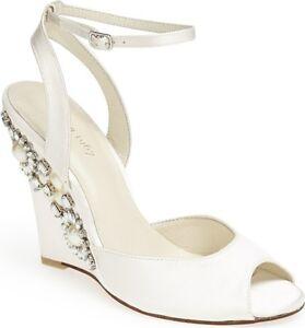 Menbur-Women-039-s-Rubi-White-Satin-Embellished-Wedge-Sandal-size-9-ns5-6
