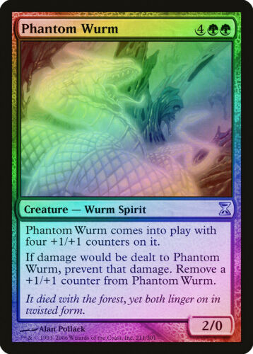 Phantom Wurm FOIL Time Spiral NM-M Green Uncommon MAGIC GATHERING CARD ABUGames