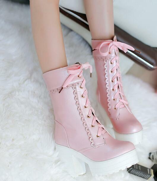 Womens Pink Cosplay Block Lolita Boots Thicken Lace up Platform shoes Clubwear