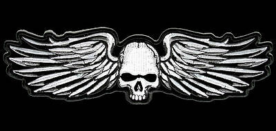 SKULL WINGS  EMBROIDERED  VELCRO 5 INCH PATCH
