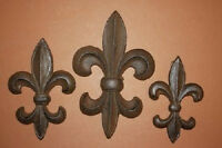 (3), Fleur De Lis, Wall Plaques, Cast Iron, Cajun, French, Orleans, F-5,6,7