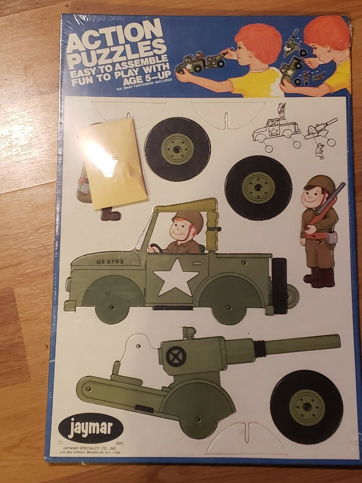 VERY RARE Vintage Jaymar Action 3D Puzzle 1825 Military Jeep Soldier Cannon NEW