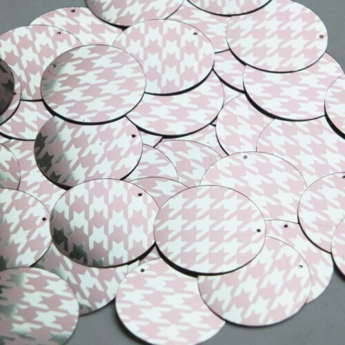 Round Sequin 30mm Pink Silver Houndstooth Pattern Metallic
