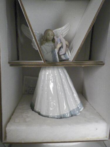 "LLADRO FIGURINE HEAVENLY HARPIST ANGEL PLAYING HARP 5830 RETIRED 8/"" TALL EUC BOX"