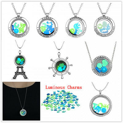 New living Floating Locket 50pc DIY luminous In The Dark charms Necklace Pendent