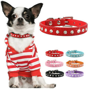 Rhinestones-Soft-Suede-Leather-Dog-Collar-XXS-S-Puppy-Collar-Pet-Cat-Chihuahua