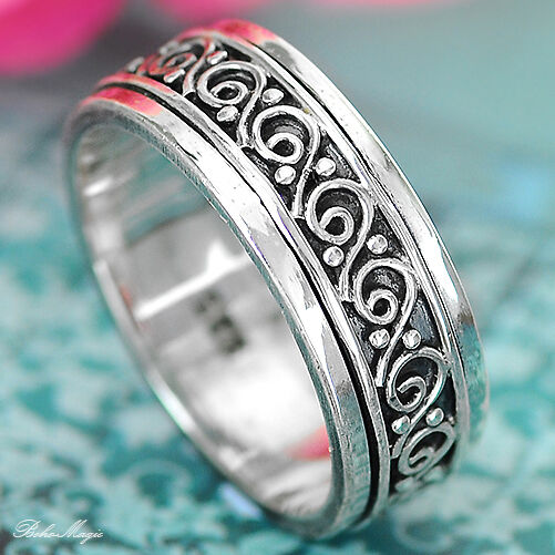 Swirls Solid 925 Sterling Silver Spinner Ring Spirals Spin Wide Band Choose Size