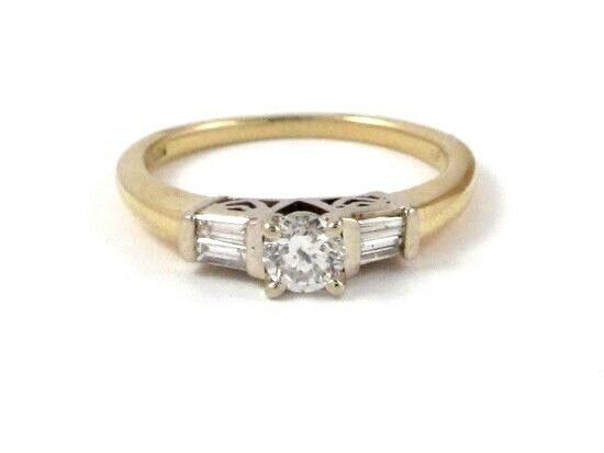 14k Yellow gold Round and Baguette Diamond Engagement Ring .46ct