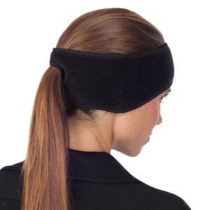Women Warm Fleece Ponytail Headband Ear Cover Ear Warmer Sweat Head Band Hat