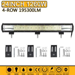 24-in-environ-60-96-cm-Quad-Row-DEL-Light-Bar-Spot-Flood-Combo-travail-VOITURE-BATEAU-UTE-Truck