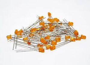 50-Pcs-Lumex-SSL-LXHL3054OD-Orange-Diffused-Lens-3mm-LED-Radial-Lead-US-Seller