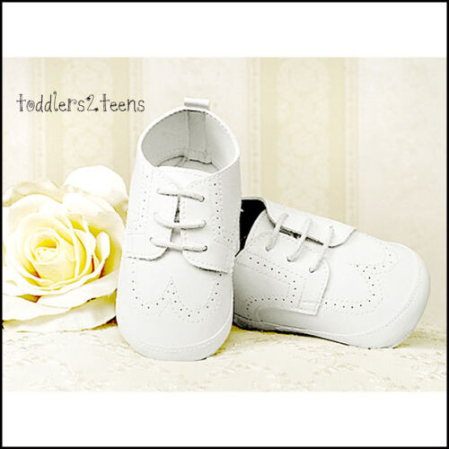 BABY BOYS WHITE FAUX LEATHER CHRISTENING PRAM SHOES SMART FORMAL PARTY 3 6 9 12M