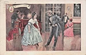The-Dancing-Lesson-epoque-coloniale-WALK-OVER-Chaussures-Publicite-Carte-Postale-1914-pstmk