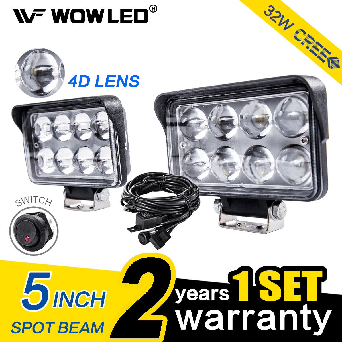 "Wow 5/"" 32 W 8LED Spot 4D Lens Work Light Bar Offroad Truck Lampe 12 V 4X4"