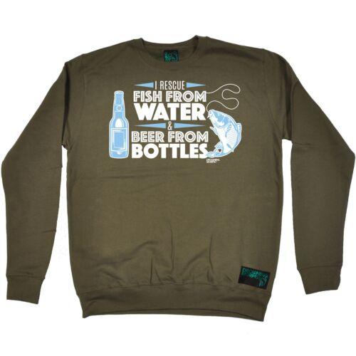 Fishing Sweatshirt I Rescue Fish From Water Beer funny BirthdayJUMPER