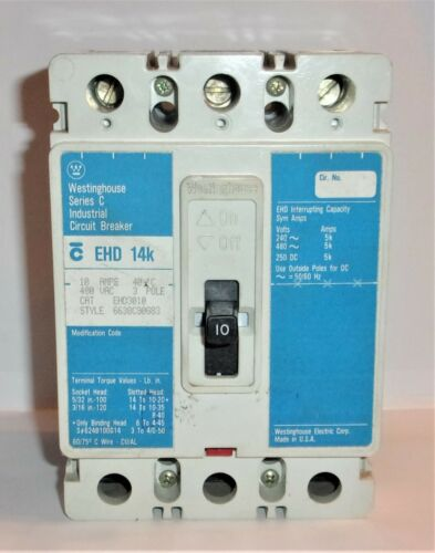WESTINGHOUSE CUTLER HAMMER EHD3010 480 VOLTS 3 POLE CIRCUIT BREAKER 10 AMP