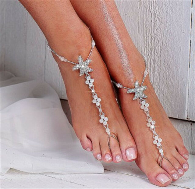 2 PC Barefoot Beach Sandal Anklet Starfish Pearls Wedding Bridal Foot Jewelry