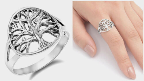 Sterling Silver 925 PRETTY WOMEN'S TREE OF LIFE BAND DESIGN RING SIZES 4-10