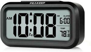 PEAKEEP Smart Night Light Digital Alarm Clock with Indoor Temperature