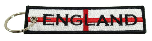 ENGLAND Flag Key Chain 100/% Embroidered St George/'s Cross World Cup
