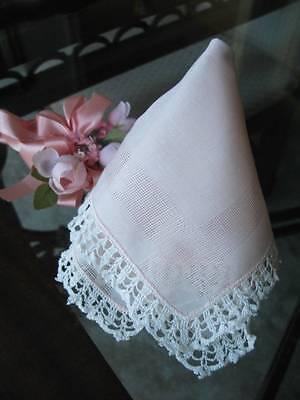 Antique Handkerchief Handmade Lace Pale Pink Drawnwork Keepsake