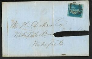1841-SG14-2d-Blue-4-Plate-4-Margins-on-cover-dated-Feb-1850-London-to-Wakefield
