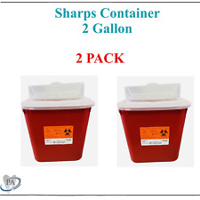 Sharps Container 2 Gallon Biohazard Needle Disposal Dental Tattoo 2 Pack