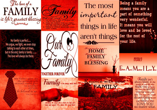 Red 100/% cotton  A1 A0 A2 Family Quotes Canvas Wall Art Picture Print