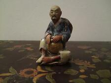19th century flambe blue purple glaze mudman pottery Japanese fisherman figure