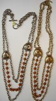 4 Antique Gold & Silver 2 Strand, Triple Bib Design Necklaces At $3.25 Wholesale