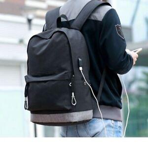 USB Teens Canvas Backpack Men School Large Boys College Bag