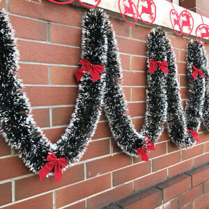 1x-200cm-Christmas-Tinsel-Garland-Luscious-Xmas-Snow-Tips-Holly-Dark-Green-amp-White